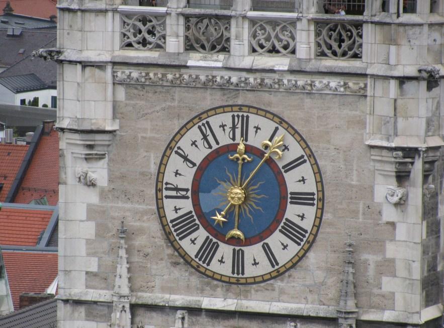 Marienplatz. The Old Town Hall clock as seen from Peterskirche belltower.