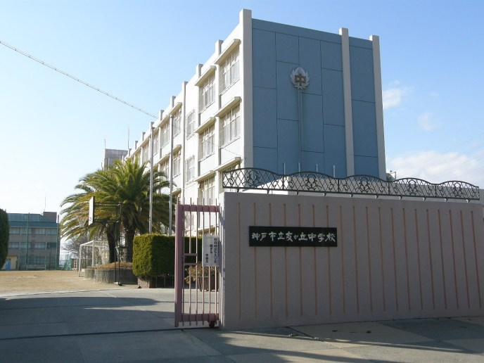 School_gate_in_junior_high_school_where_boy_A_put_boy's_neck