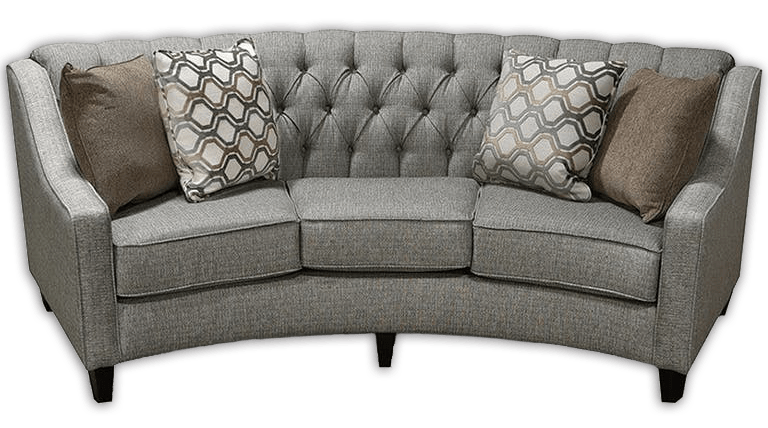 DeMeyer Furniture and Mattress Store - image is a grey couch with four throw pillows on top.