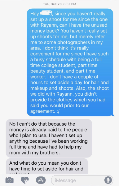 Alicia Nicole Castillo text messages Demi Bang after Alicia scammed Demi.