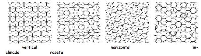 Fig. 1. - Tipos de construcción de celdillas, según Hepburn (1986)