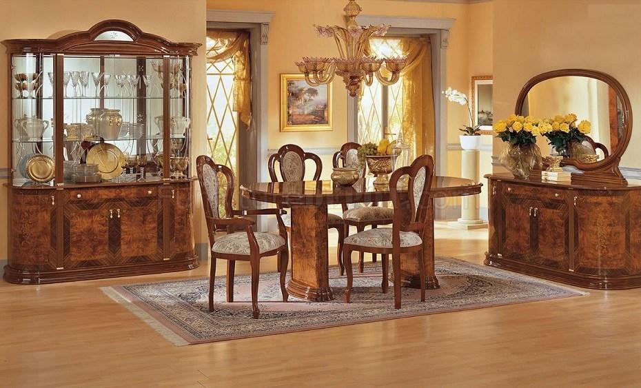 Walnut High Gloss Finish 7 Piece Classic Dining Set