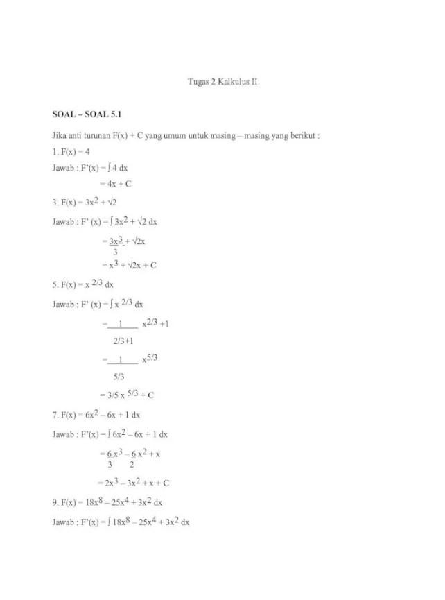 Sistem bilangan real, pertaksamaan dan operasi geometris kurva sederhana 1. Contoh Soal Kalkulus
