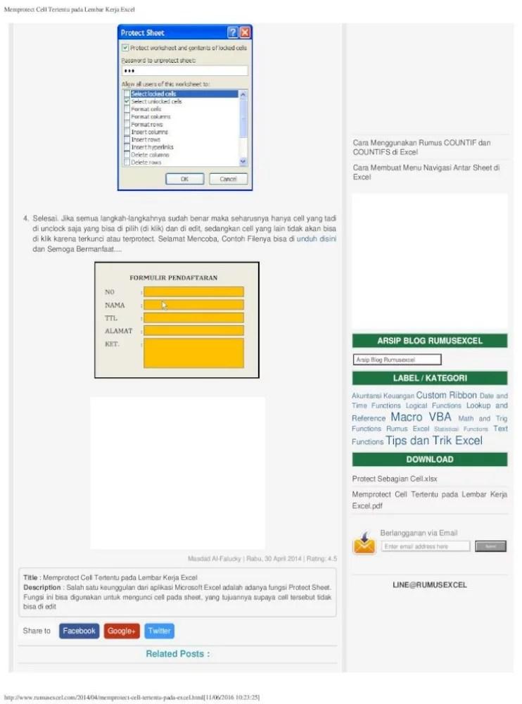 Cara Memproteksi Cell Tertentu Pada Excel 2007 : memproteksi, tertentu, excel, Memprotect, Tertentu, Lembar, Kerja, Excel