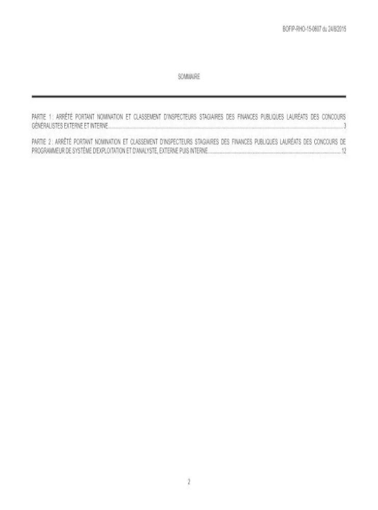 Inspecteur Externe Des Finances Publiques : inspecteur, externe, finances, publiques, BOFIP-RHO-15-0607, 24/08/2015