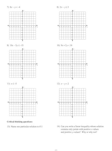 Algebra 2 Graphing Linear Inequalities Practice Answer Key