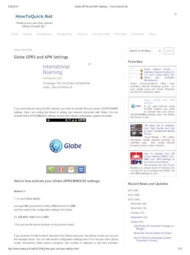 Setting Gprs Telkomsel Via Sms : setting, telkomsel, Globe, Settings, HowToQuick.pdf, Document]