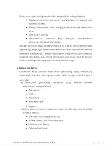 Unsur Unsur Penunjang Keselamatan Kerja : unsur, penunjang, keselamatan, kerja, Keamanan, Keselamatan, Kerja, Document]