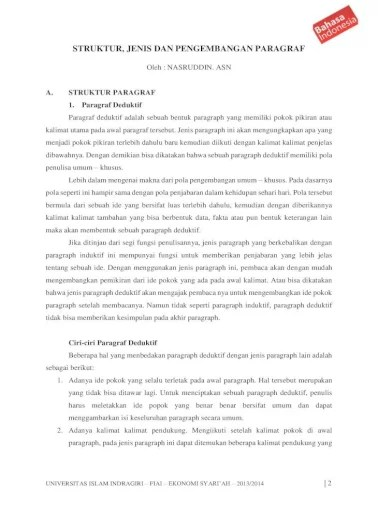 Jenis Pengembangan Paragraf : jenis, pengembangan, paragraf, Struktur,, Jenis, Pengembangan, Paragraf, Document]