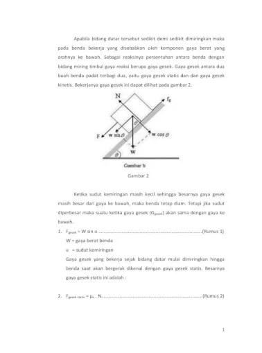 Gaya Pada Bidang Miring : bidang, miring, Laporan, Praktikum, Gesekan, Bidang, Miring, Document]