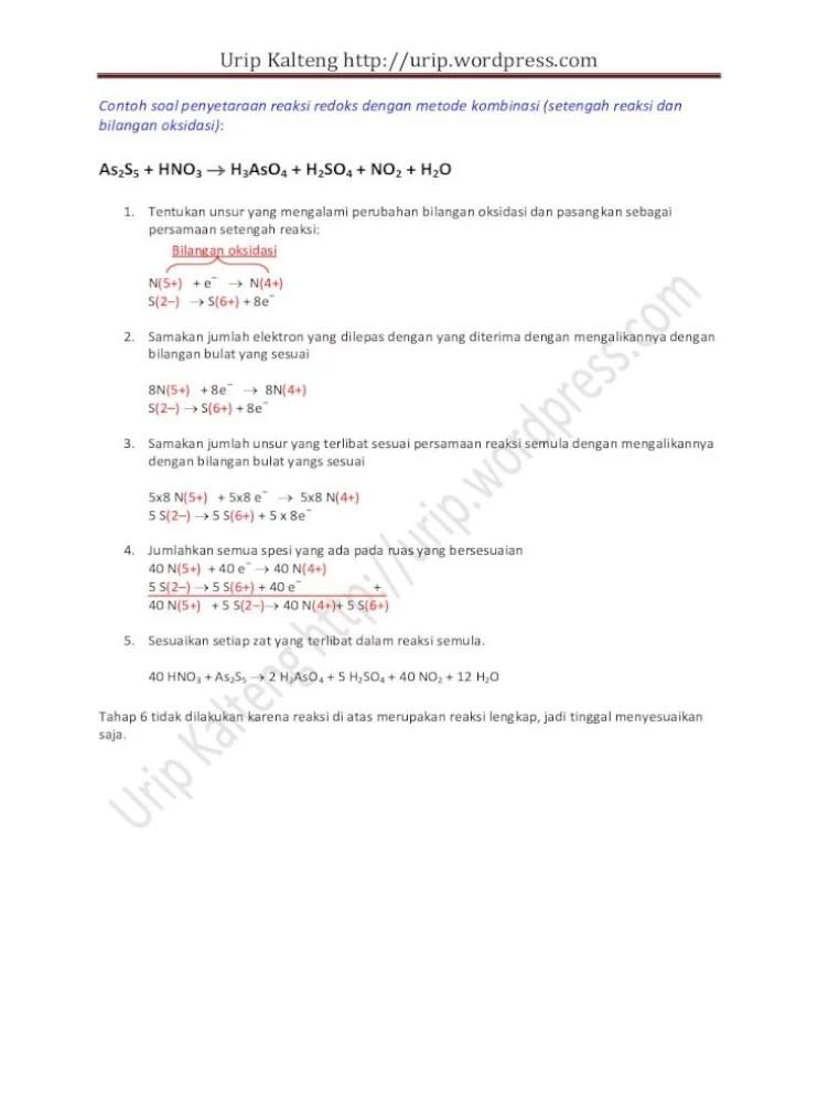 Metode Setengah Reaksi : metode, setengah, reaksi, Kalteng, ://urip.files., Contoh, Penyetaraan, Reaksi, Redoks, Dengan, Metode, Kombinasi, (setengah, Bilangan, Oksidasi):, Document]