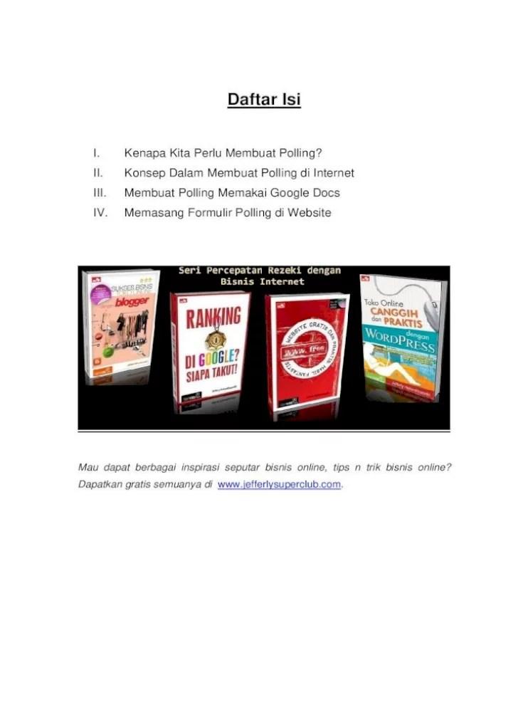 Cara Membuat Daftar Isi Di Google Docs : membuat, daftar, google, Ebook, Mudah, Membuat, Polling, Internet, Document]