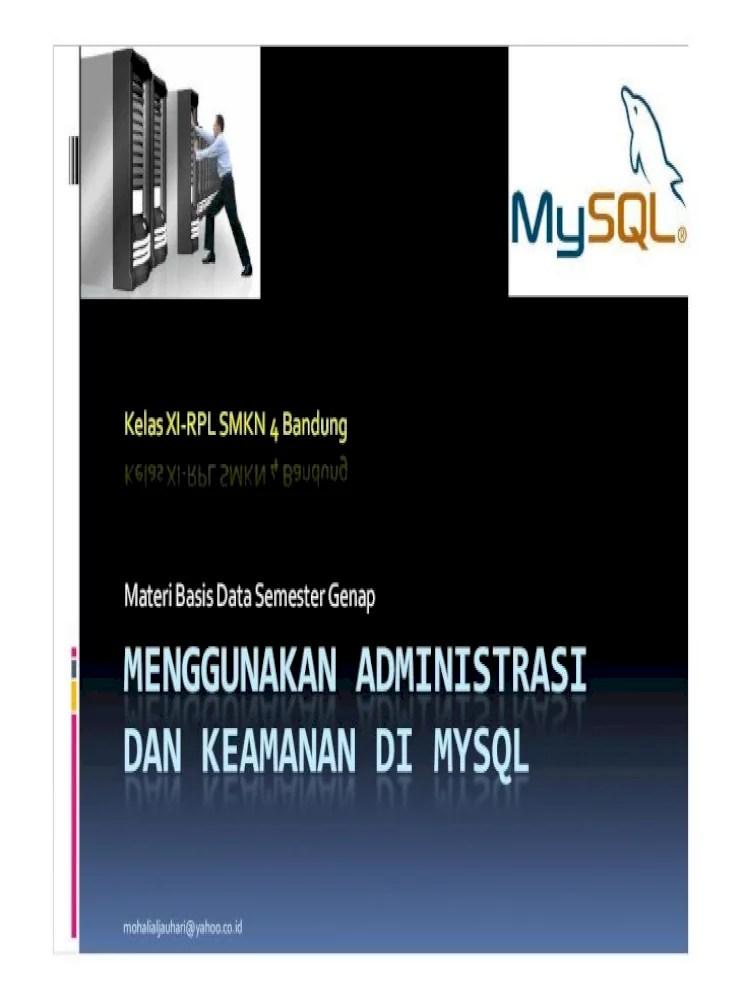 Modul Administrasi Umum : modul, administrasi, Modul, 5-Menggunakan, Administrasi, Keamanan, MySQL, .Kriptografi, Secara, Adalah, Document]