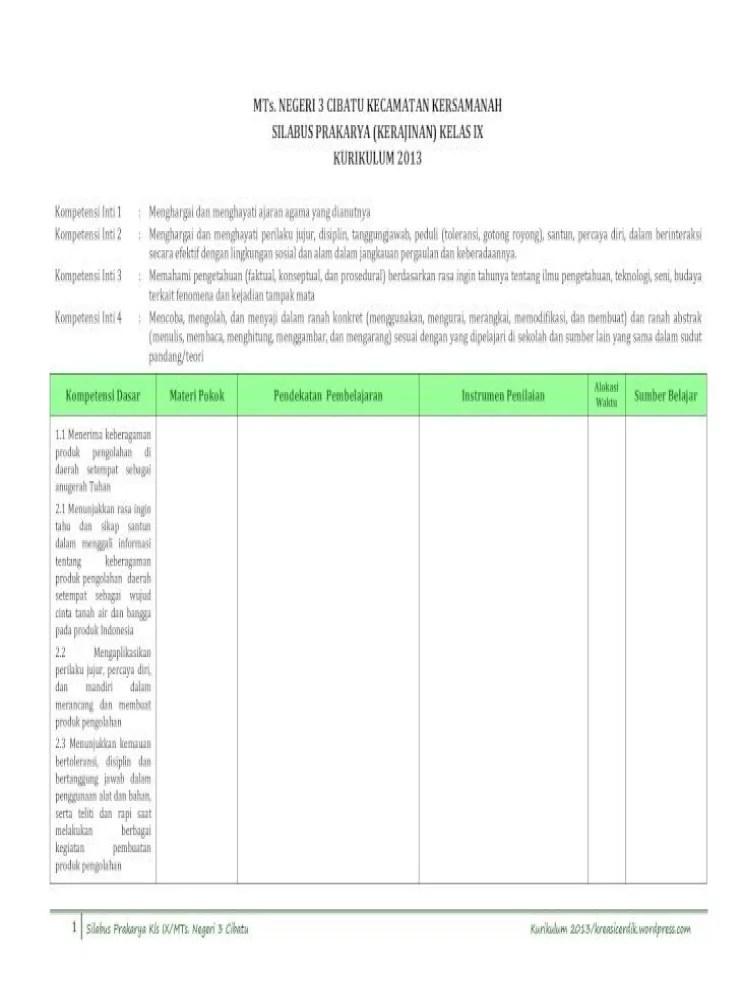 Silabus Prakarya Kelas 9 : silabus, prakarya, kelas, 10.3), Silabus, Prakarya, SMP_MTs., Kls.ix, Kurikulum, Document]