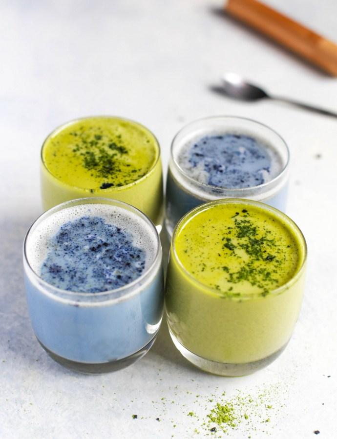 Blue and Green Matcha Lattes