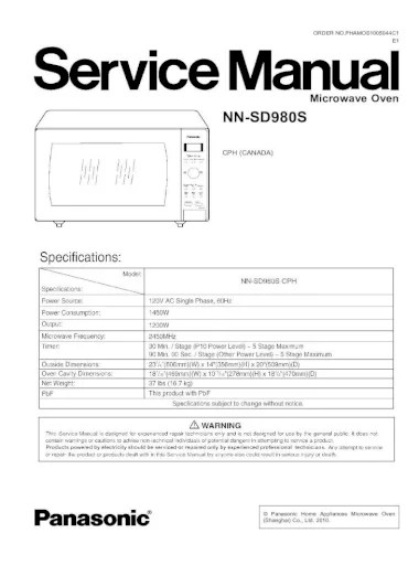 microwave oven nn sd980s schematic