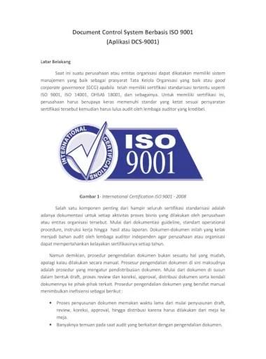 Dari sistem manual yang selama ini dipakai dengan sistem baru yang berbasis komputer. Document Control System Berbasis Iso 9001 Pengendalian Dokumen Yang Bersifat Manual Sebagai Contoh Saat Draft Dokumen