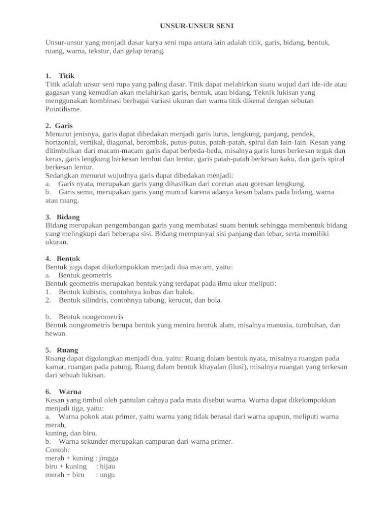 Titik Garis Bidang Bentuk Warna Tekstur Dan Gelap Terang Merupakan Wujud Dari : titik, garis, bidang, bentuk, warna, tekstur, gelap, terang, merupakan, wujud, UNSUR