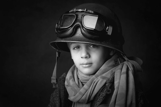 Boy Playing Soldier