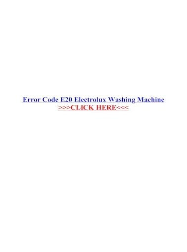 Electrolux Washer Error Codes : electrolux, washer, error, codes, Error, Electrolux, Washing, Machine, .Error, ELECTROLUX, Document]