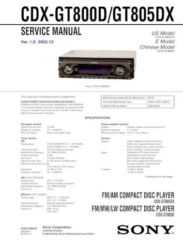 sony cdxgt800d gt805dx  pdf document