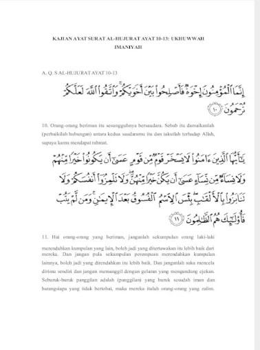 Al Hujurat Ayat 10 13 : hujurat, KAJIAN, SURAT, AL-HUJURAT, 10-13:, UKHUWWAH, IMANIYAH, Document]