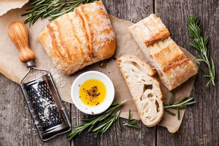 Sliced Bread Ciabatta and Oil