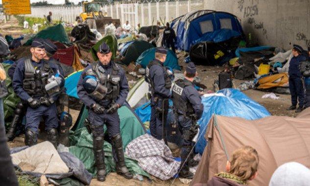 Calais jungle camp for refugees