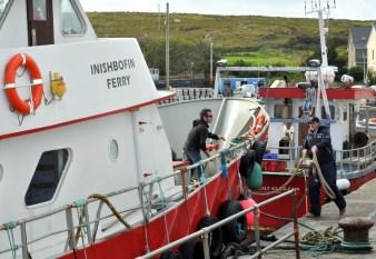 Piers - Connemara inishbofin ferry leaving Cleggan