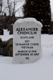 2/3/18 . The Sunday Post, by Andrew Cawley. Pics for Alexander Chisholm, the Scottish man who fought and died in the Vietnam War (he emmigrated to USA, and so was draughted). Pic shows his gravestone, in Dumbarton Cemetery.