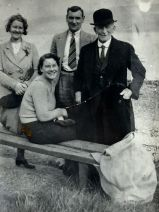 Rangers Moses McNeil in bowler hat with his family on Garelochside