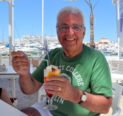 Algarve - Bill enjoys a super sundae at the marina in Vilamoura