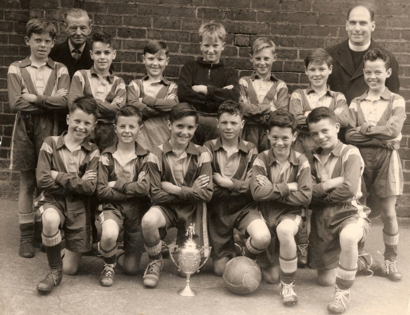 FOOTBALL - Bill in Wee St Pat's team (back row, right) with Father John Gowans and John McFall, team manager