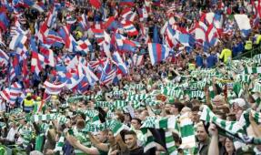 Sectarianism - segregated in football and in life, Celtic and Rangers fans at a recent football match between the clubs. 2