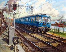 Original Railway Poster Glasgow Electric Blue Train Terence Cuneo