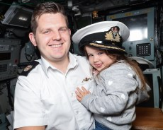 Ambush Families Day Pictured here: Warrant Officer Adam Grimley and Gabriella Grimley ROYAL NAVY Submariners recently welcomed their loved-ones to their workplace when HMS Ambush held a families' day at HM Naval Base Clyde. The Astute-class vessel – which is the second of three currently in service with the Royal Navy – opened her hatches on Friday, September 21. *** Local Caption *** Consent held