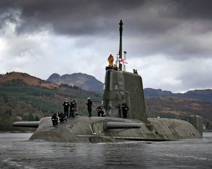 Pictured is the first in her class, the Royal Navy's SSN HMS ASTUTE. ASTUTE sailed from her homeport at HMNB Cltyde under Scottish moody skies.