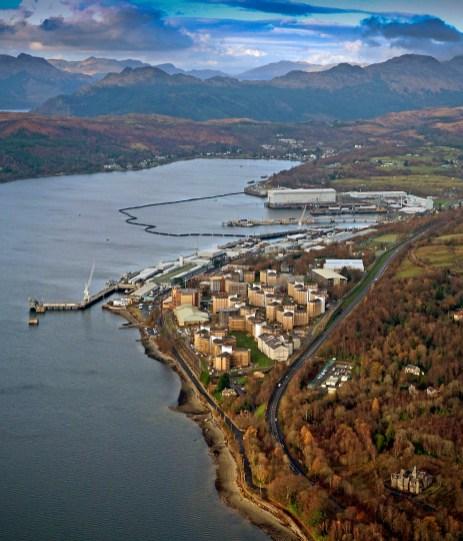 Aerial images of Faslane Photex of Faslane and Coulport installations. LA Phot Pepe Hogan