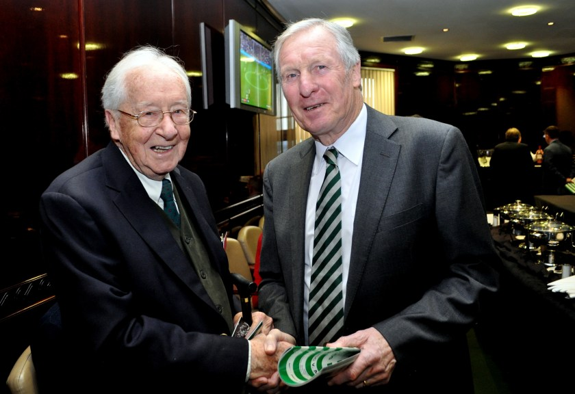 Frank Meehan with Billy McNeil at Celtic Park pic by Bill Heaney