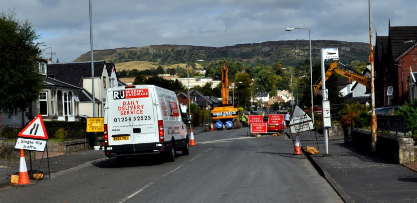 Road Closed signs in Round Riding Road at Boghead Farm