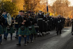 Pictured: Her Majesties Naval Base Clyde Guard march through the town being led by Helensburgh Clan Colquhoun Pipe Band. Today 10 November 2019, in Helensburgh, Royal Navy Sailors and Submariners from nearby HM Naval Base Clyde joined local residents and dignitaries at Hermitage Park for this year's Remembrance ceremony. Events began and Hermitage Primary School, led by the Royal Navy guard and HMS Neptune Volunteer Band. The participants marched to the park's Garden of Remembrance. Taking the salute outside Victoria Halls was Naval Base Commander Clyde, Commodore Donald Doull, who also laid a wreath outside the town's cenotaph. MEMBERS of the Royal Navy attended Remembrance Services around Scotland today to honour those who made the ultimate sacrifice in defence of their country.