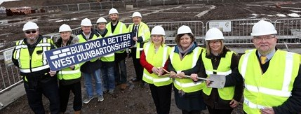 Clydebank Care Home Sod cutting PIC SHOWS Cllr Marie McNair with