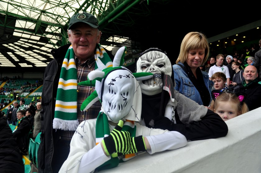 Denis Coll and grandsons Ryan and Sean from Balloch at Celtic Park