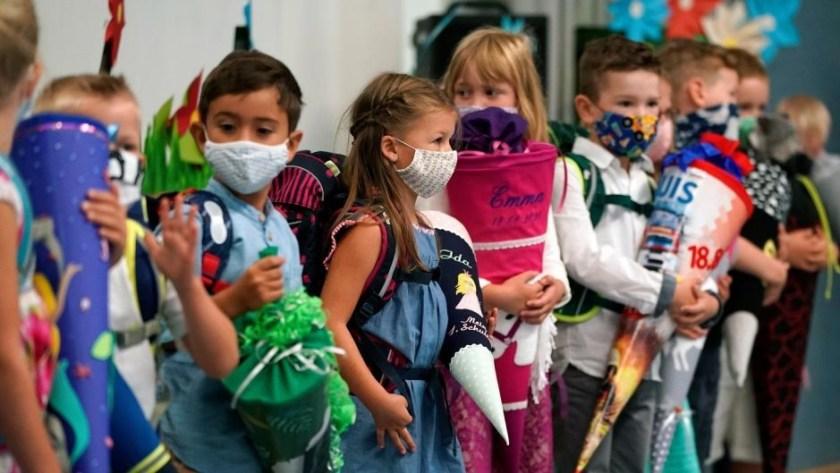 Covid children masked up