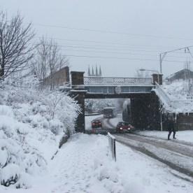 SNOW - railway bridge at Bonhill Road