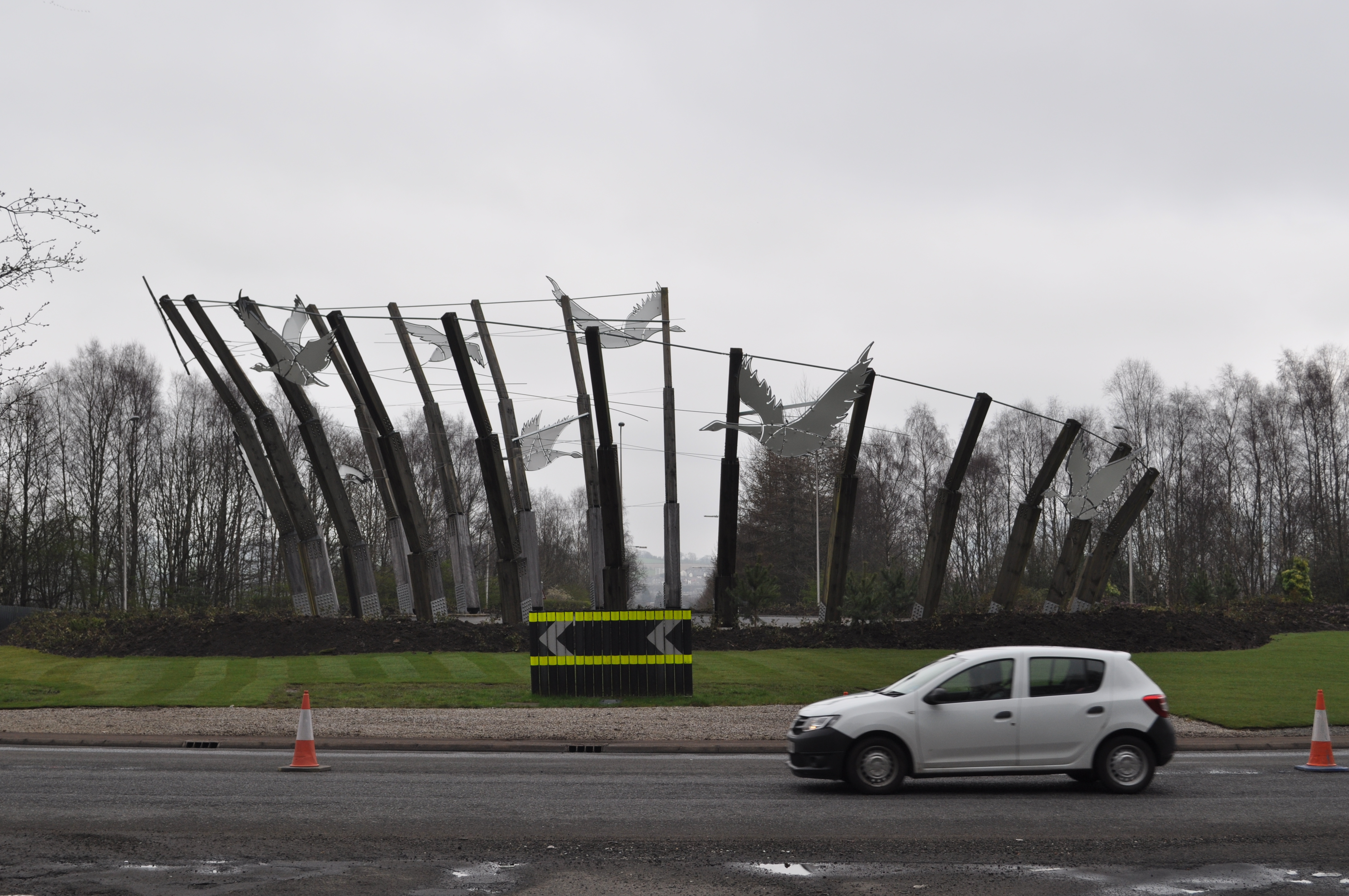 SANDY STODDART GOOSE SCUPTURE SCRAPPED AT STONEYMOLLAN ROUNDABOUT