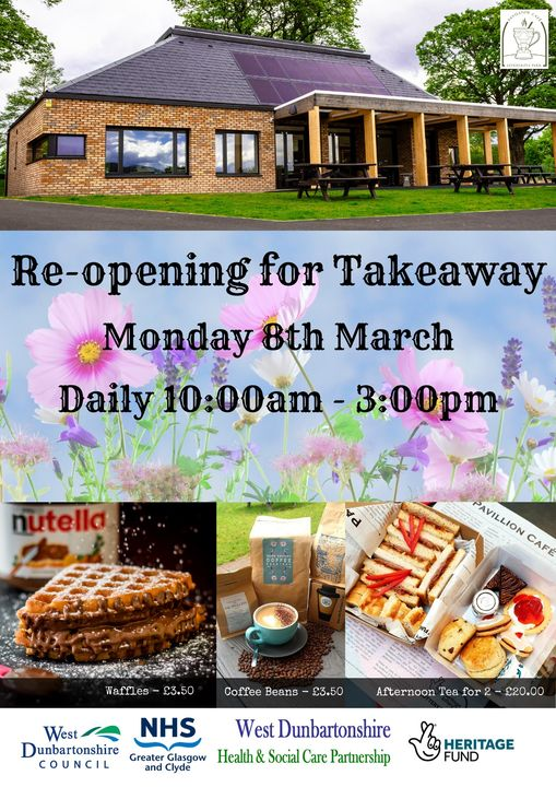 LEVENGROVE PAVILION CAFE OPEN AGAIN FOR TAKEAWAYS AND COFFEE TO GO