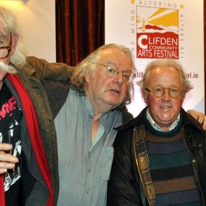 Boske's book launch guests - Tom Matthews, James C Harrold, Galway City Arts Officer, Mike Harding and Tony Curtis.