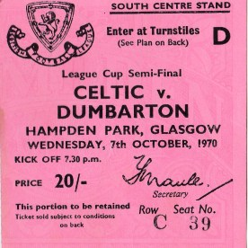 Celtic v Sons semi final ticket