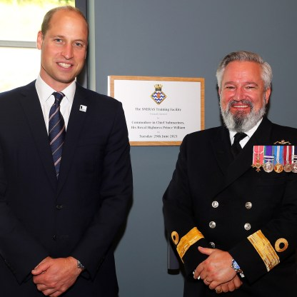 """HRH Prince William opens Training Facility HRH PRINCE WILLIAM OFFICIALLY OPENS NEW £34M TRAINING FACILITY AT HOME OF THE SUBMARINE SERVICE HIS ROYAL HIGHNESS Prince William visited the Home of the UK Submarine Service in Argyll and Bute today (June 29) to meet with service personnel and to officially open a multi-million-pound training facility. The Prince, who is Commodore-in-Chief Submarines, spent the afternoon at HM Naval Base Clyde, Scotland's largest military establishment, beginning with an update on operations delivered by members of the Submarine Flotilla. While at the site His Royal Highness officially opened the new £34M Submarine Escape, Rescue, Abandonment and Survival (SMERAS) facility. Known as """"Thetis"""" building, after wartime submarine HMS Thetis which sank in Liverpool Bay in 1939, the facility is used to train Royal Navy Submariners in how to safely escape from a stricken submarine. The state-of-the-art building features a realistic simulator capable of mimicking a variety of weather conditions and sea states. Trainers can put students through their paces in the water, giving them the opportunity to practise abandoning a submarine and escaping to life rafts while wind, rain and even thunder and lightning rage around them. Submariners can also practise Escape from Depth methods in a realistic training environment, simulating the expected conditions on board a submarine in distress. Captain Iain Breckenridge OBE, in charge of submarine training with the navy's Flag Officer Sea Training organisation, said: """"We were delighted to host our Commodore-in-Chief to open this fantastic and world-leading submarine escape training facility. """"His Royal Highness toured the entire building, met training staff and students, and enjoyed some hands-on operation of the escape towers and wave generator."""" While officially opening the SMERAS facility Prince William also signed the guest book on the same page as his Grandfather, Prince"""